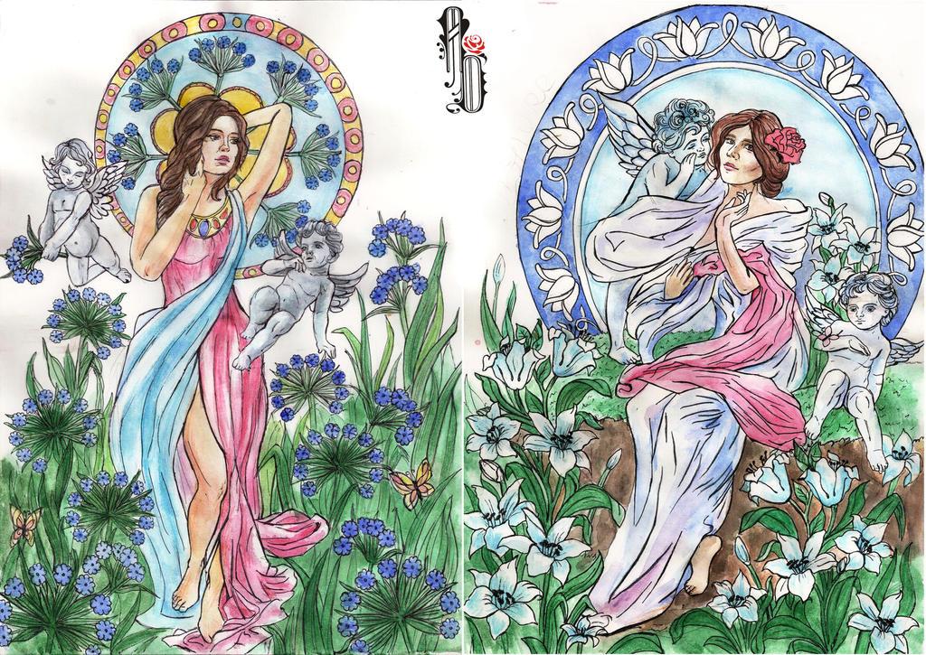 Art Noveau flowers and angels by AlbinaDiamond