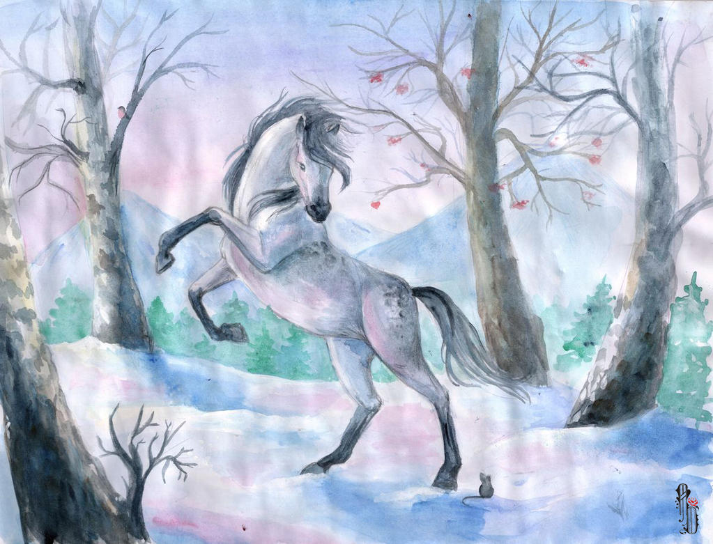 Horse in winter by AlbinaDiamond