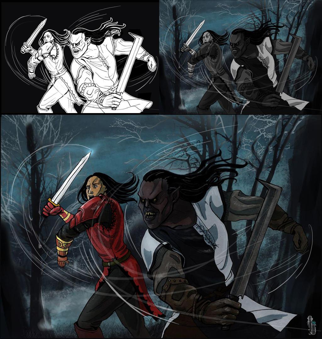 Fighting Uruk-hai by AlbinaDiamond