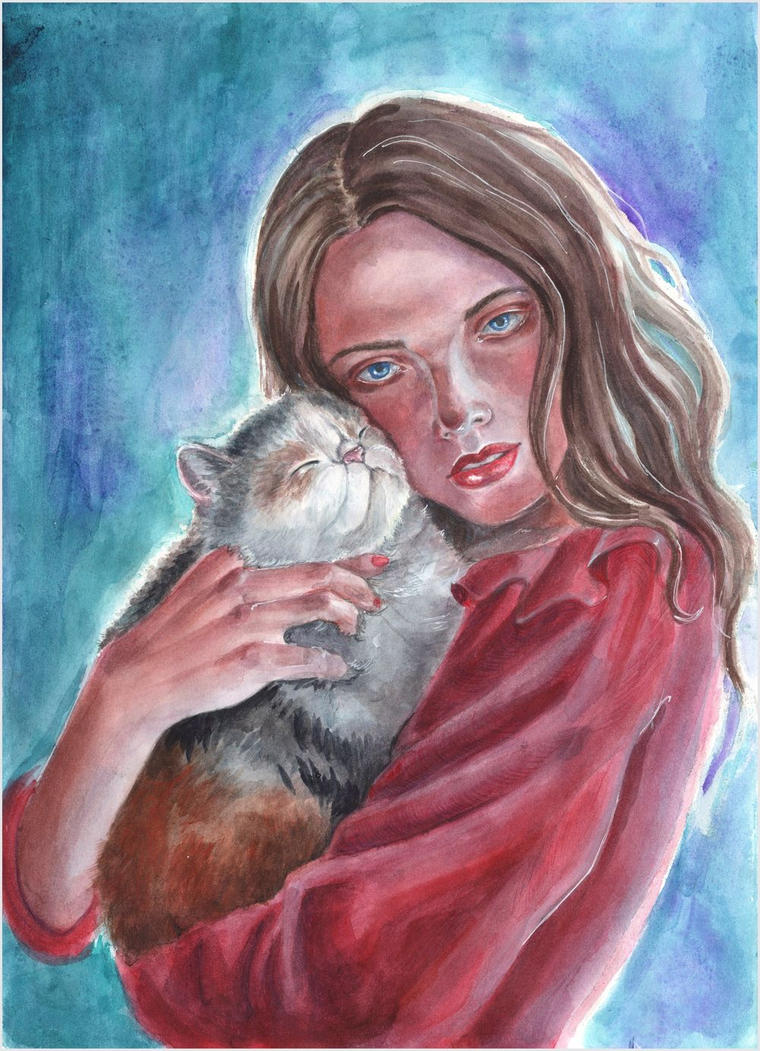 Lady and her cat 1 by AlbinaDiamond