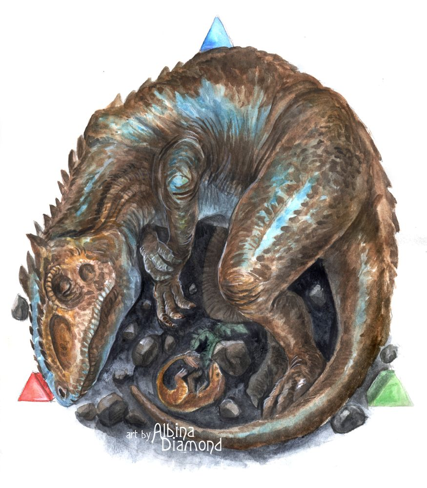 Sleeping Giganotosaurus by AlbinaDiamond