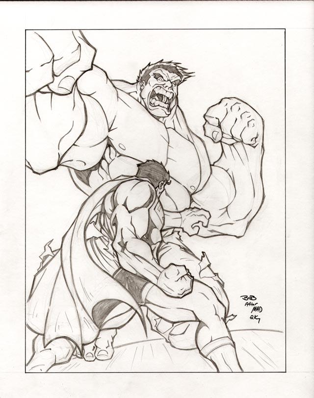 Superman vs Hulk by sketchheavy