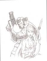 Hellboy and Buffy sketch by sketchheavy