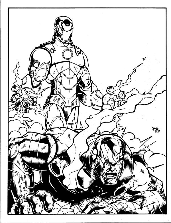 Ironman vs iron patriot inked by sketchheavy on deviantart for Iron patriot coloring pages