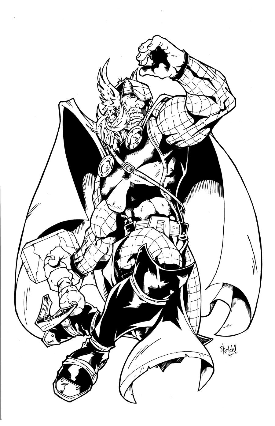 the mighty thor inks by sketchheavy on deviantart