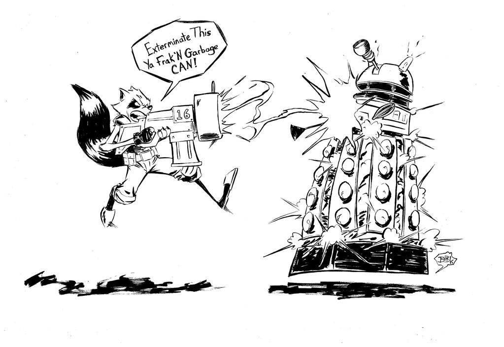 Rocket vs Dalek by sketchheavy
