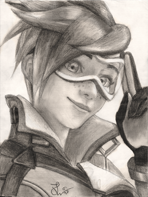 Overwatch Tracer pencil drawing by TheJulinator