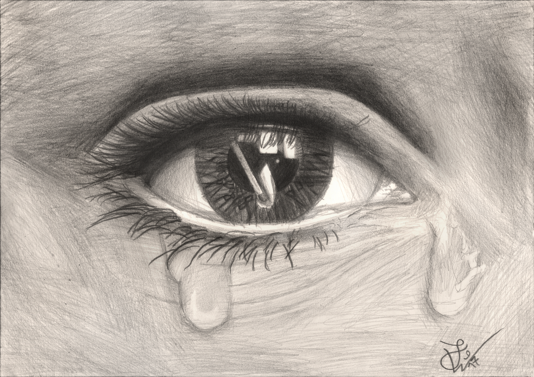 sad eye pencil drawing by thejulinator on deviantart