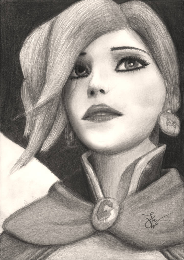 Overwatch mercy witch pencil drawing by thejulinator