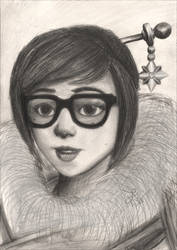 Overwatch Mei pencil drawing by TheJulinator