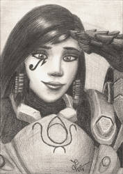 Overwatch Pharah pencil drawing by TheJulinator