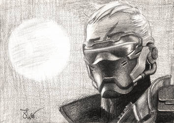 Overwatch Soldier 76 pencil drawing by TheJulinator