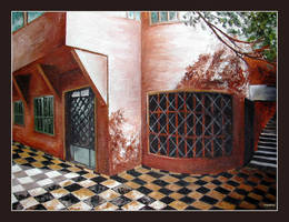 tiled floor and house