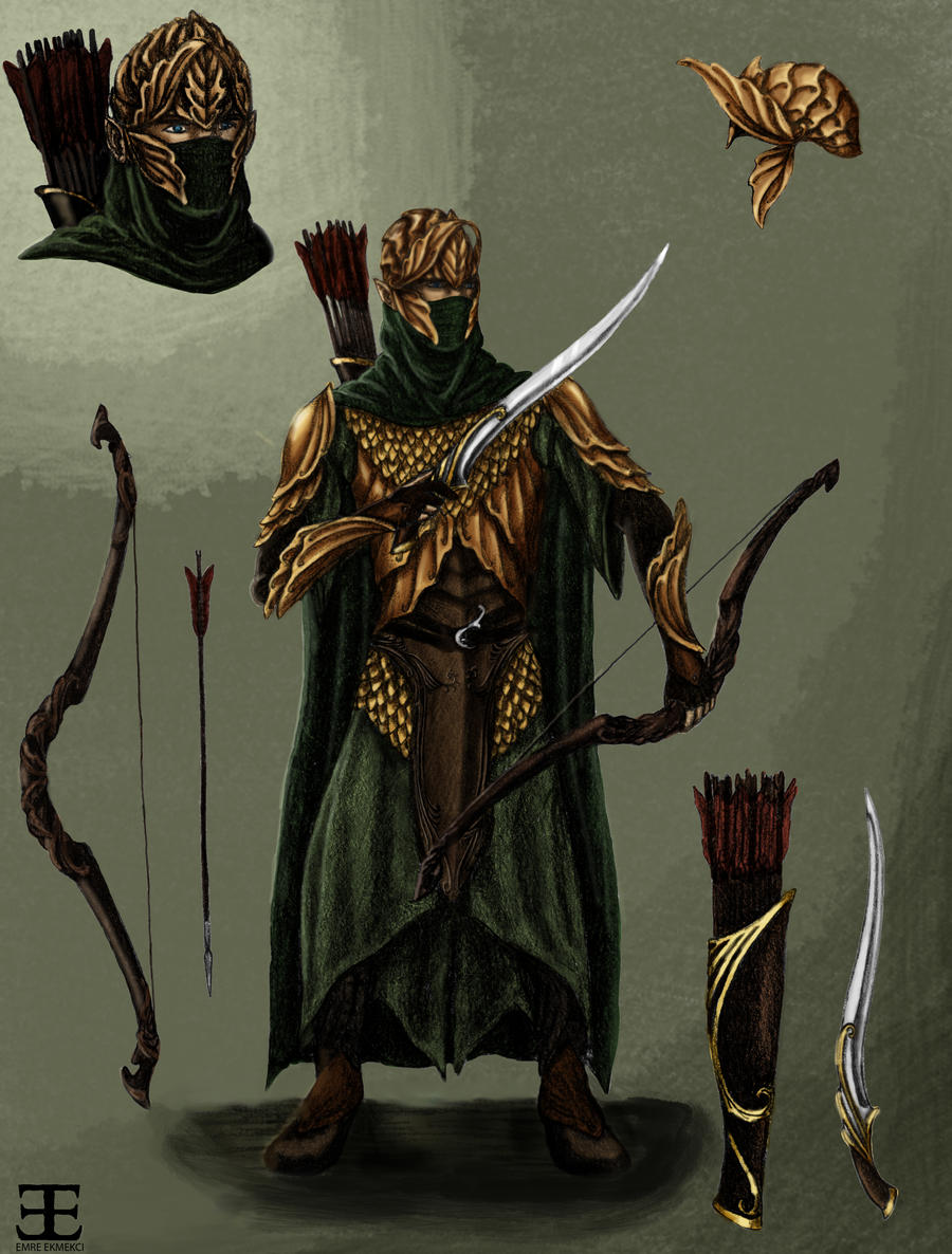 Mirkwood Elf Warrior Concept Art- colored by Atohas on ...