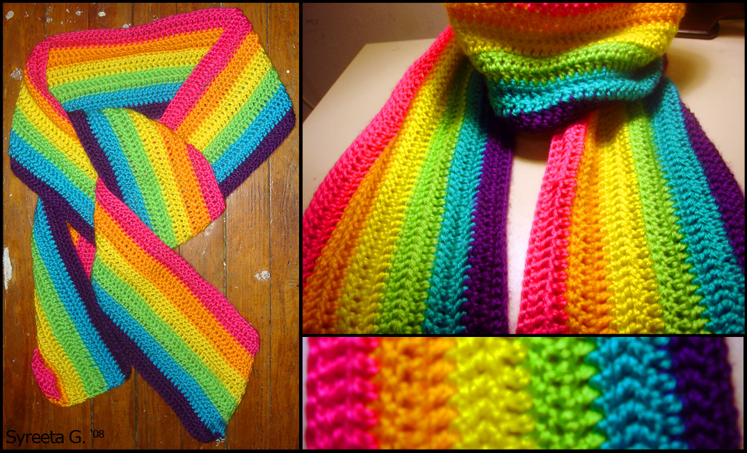 How To Knit Patterns With Different Colors : Crochet Rainbow Scarf by Petra0 on DeviantArt