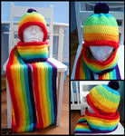 Rainbow Scarf and Hat