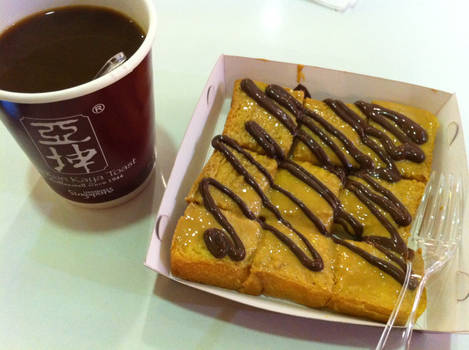 Chocolate and Peanut Butter Toast with Coffee
