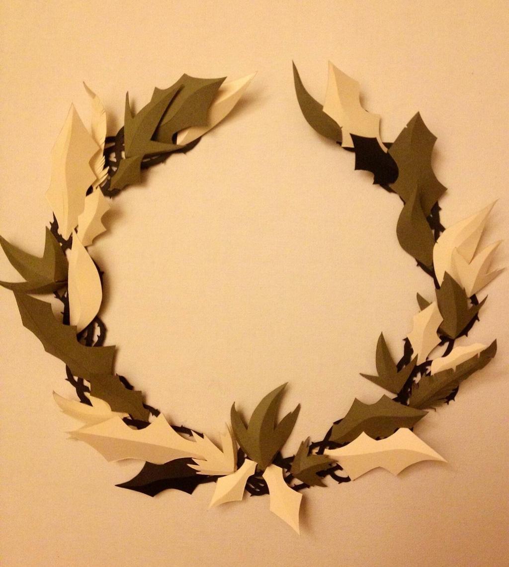 Christmas Wreath - hand-cut paper