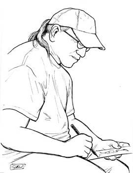 Randy sketching