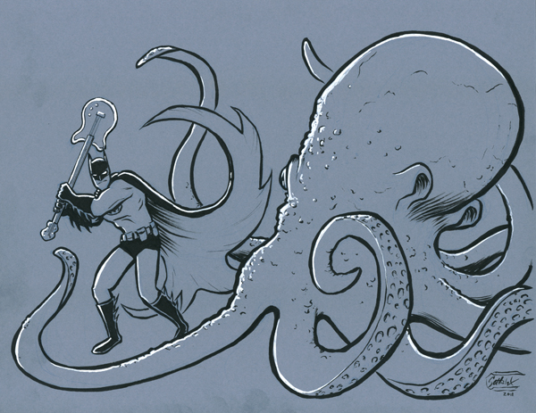 Batman vs. octopus by SethWolfshorndl