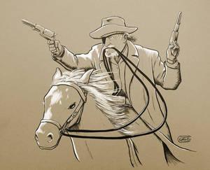 Rooster Cogburn on horseback