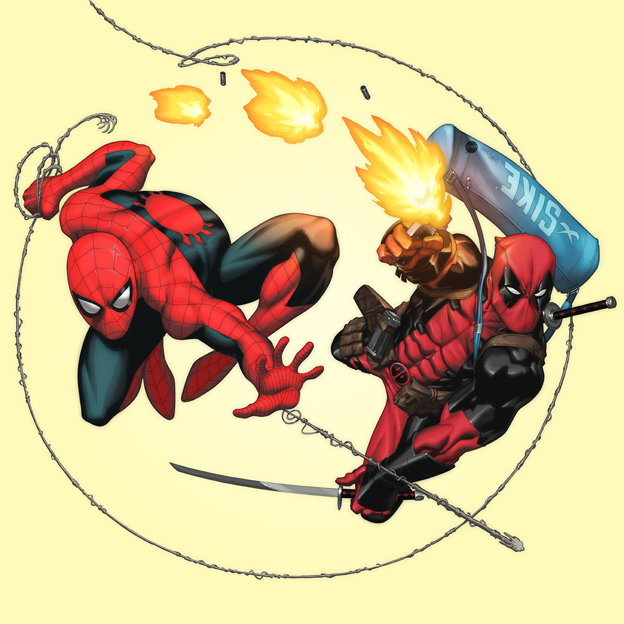 Spidey and Deadpool by pacman23