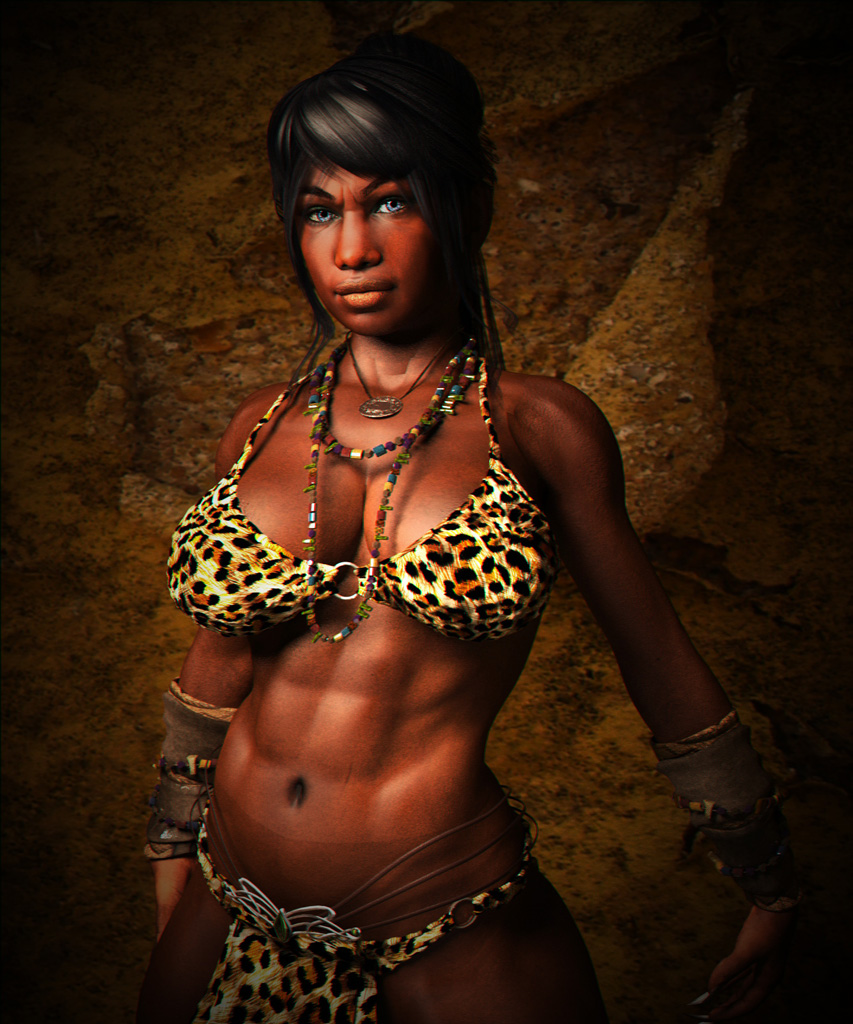 Nude Ebony Warrior Woman 73