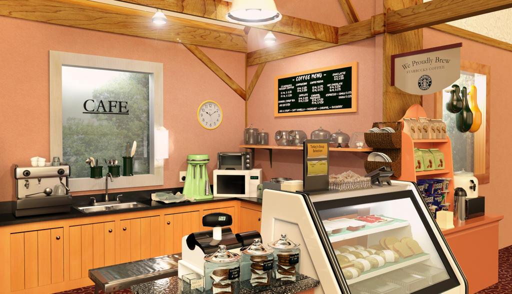 3D Starbucks Coffee Shop Interior by gloriabigail