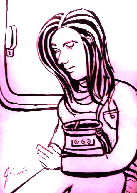 Woman on Cell Phone by jedsart