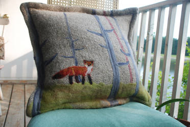 Fox in the Woods Felted Pillow