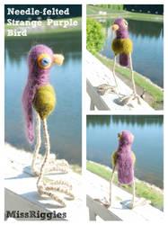 Strange Purple Songbird - Needle-felted