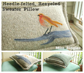 Robin Pillow with Needle-felted Recycled Sweaters