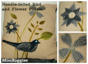 Blue Bird Pillow w/ Needle-felted Recycled Sweater