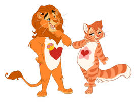 Brave Heart Lion and Proud Heart Cat by ThisCrispyKat