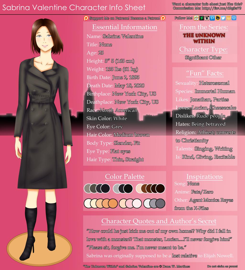 Character information sheet - Sabrina Valentine Character Info Sheet By Mangaka4christ Sabrina Valentine Character Info Sheet By Mangaka4christ