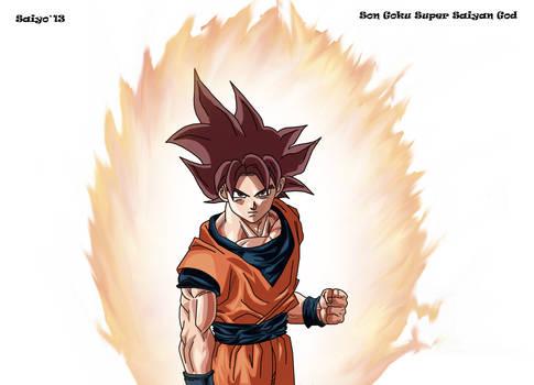 Son Goku Super Saiyan God Lineart Coloreo by Saiyo