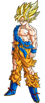 Son Goku Super Saiyan Namek Lineart Coloreo by