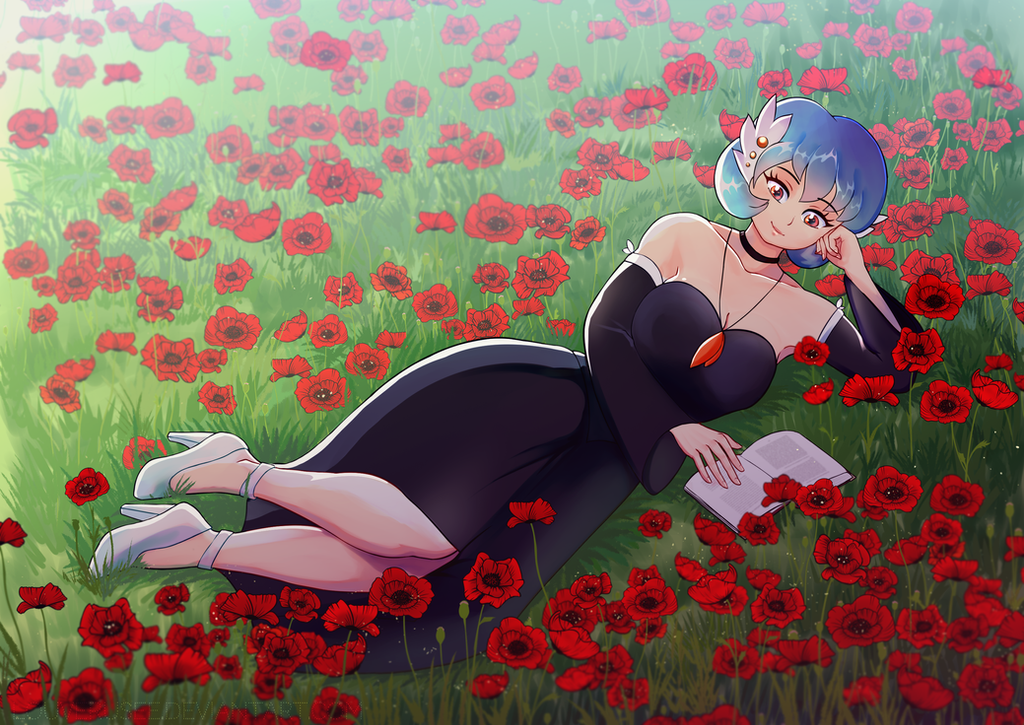 [CM] Reading in flower field by louverusee