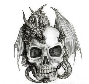 dragon and skull by rashad53