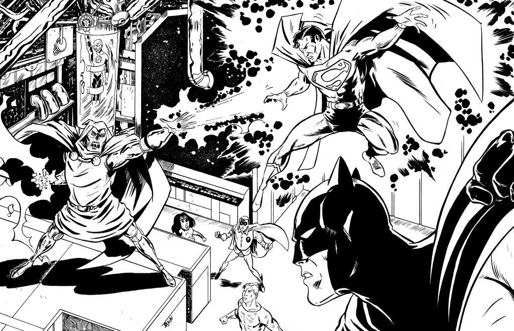 Dr. Doom vs the Super Friends by dannphillips