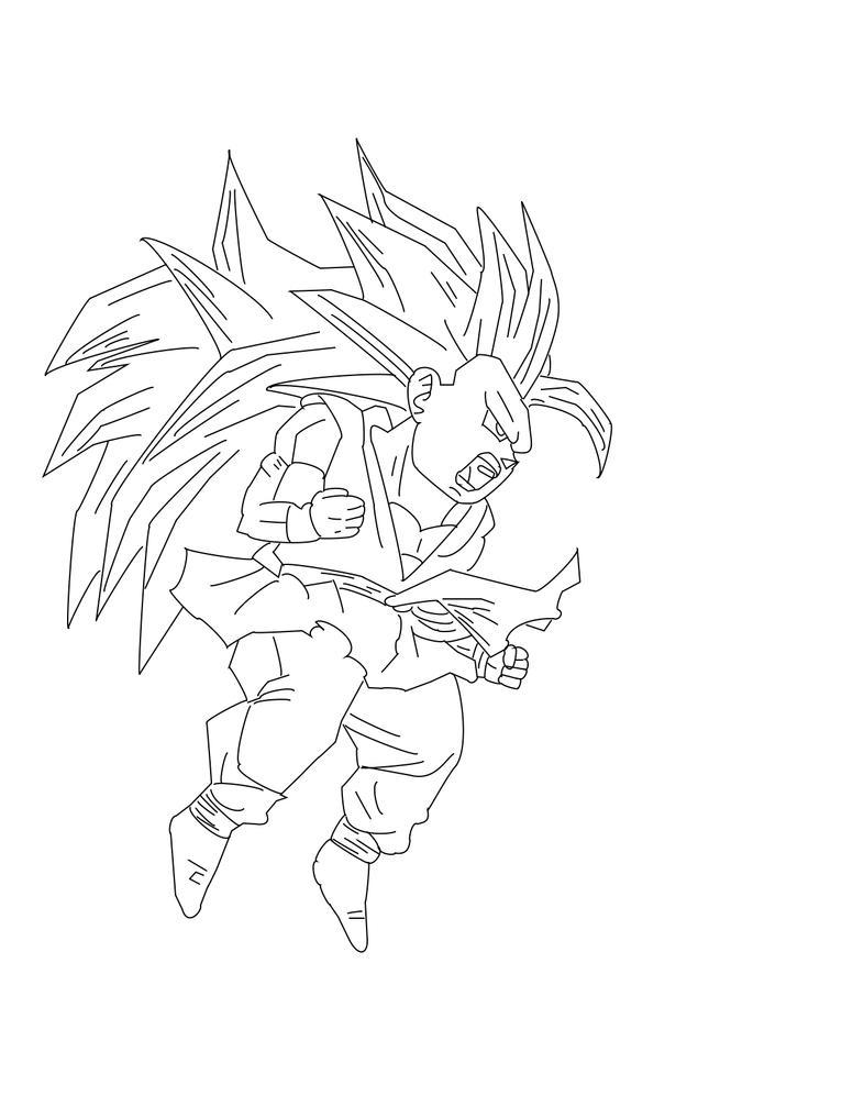 Gt Goku SS3 Lineart by TwichAIR23