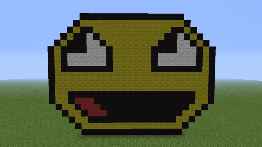 I made lol face on minecraft! by Cowboypilot-MC