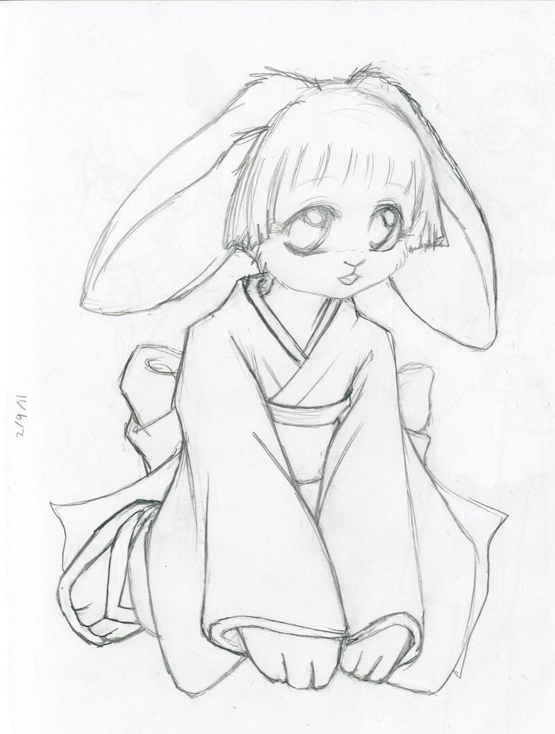 Line Art Year : Year of the rabbit line art by devilkitten on deviantart