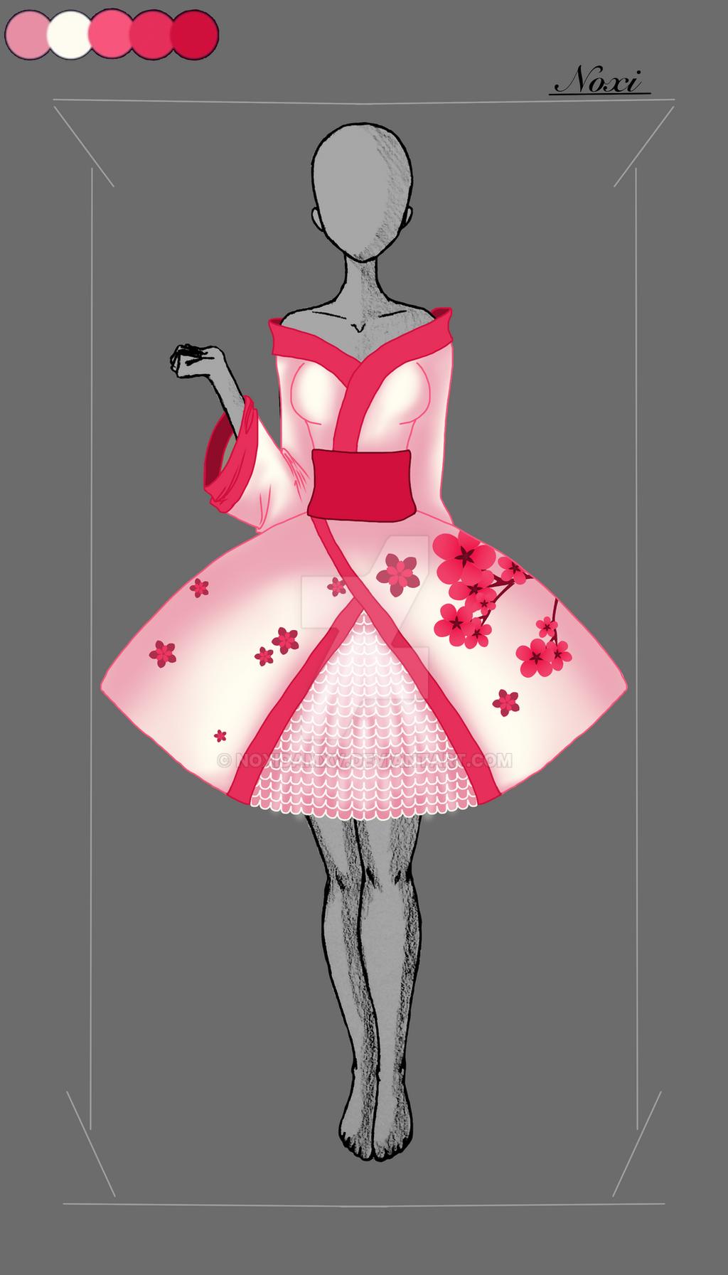 Dress Adoptable- Red Sakura (OPEN) by NoxidamXV