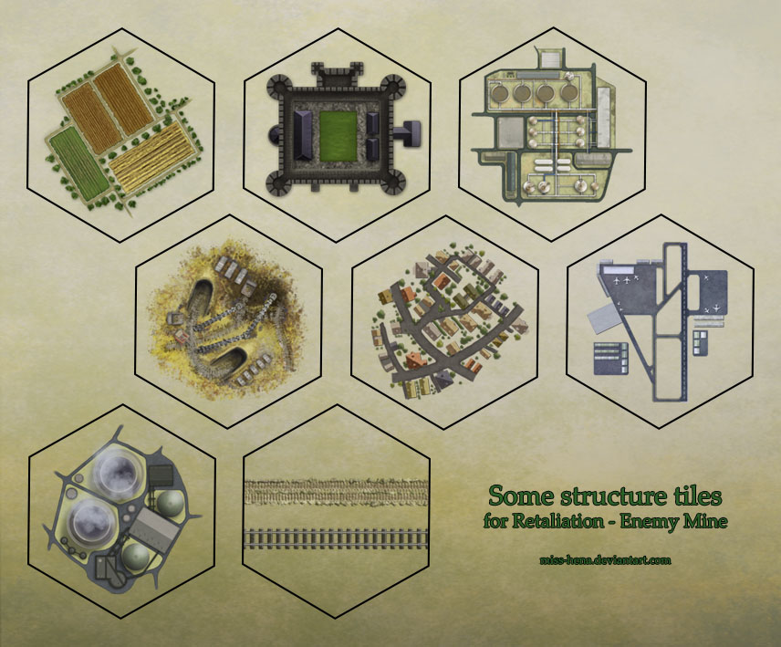 Hex tiles - structures by miss-hena on DeviantArt