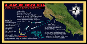 JURASSIC FRANCHISE: Map of Costa-Rica and islands