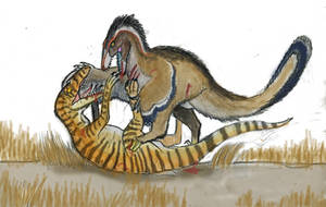 Nublar Raptor Vs It's Ancestor by Taliesaurus