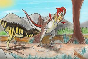 PALEOART: Carnotaurus-Courtship. by Taliesaurus