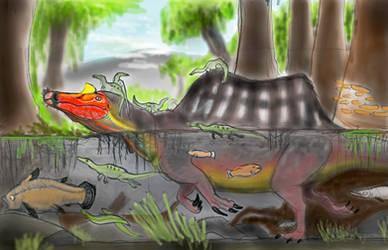 PALEOART: Parental Spinosaurus