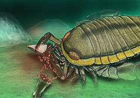 PALEOART: Sea Scorpion having a meal